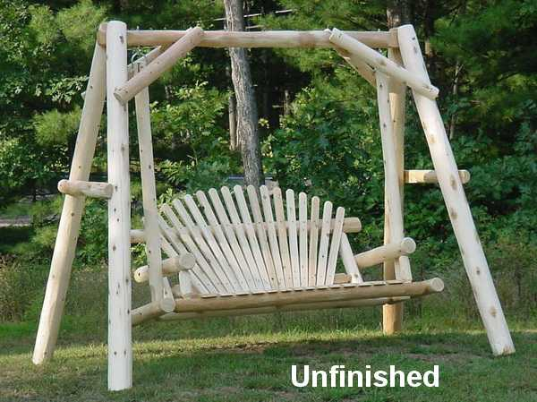 5′ Cedar Log Porch Swing with Stand