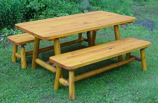 6′ Cedar Log Picnic Table w/2 Side Benches (cabin style)