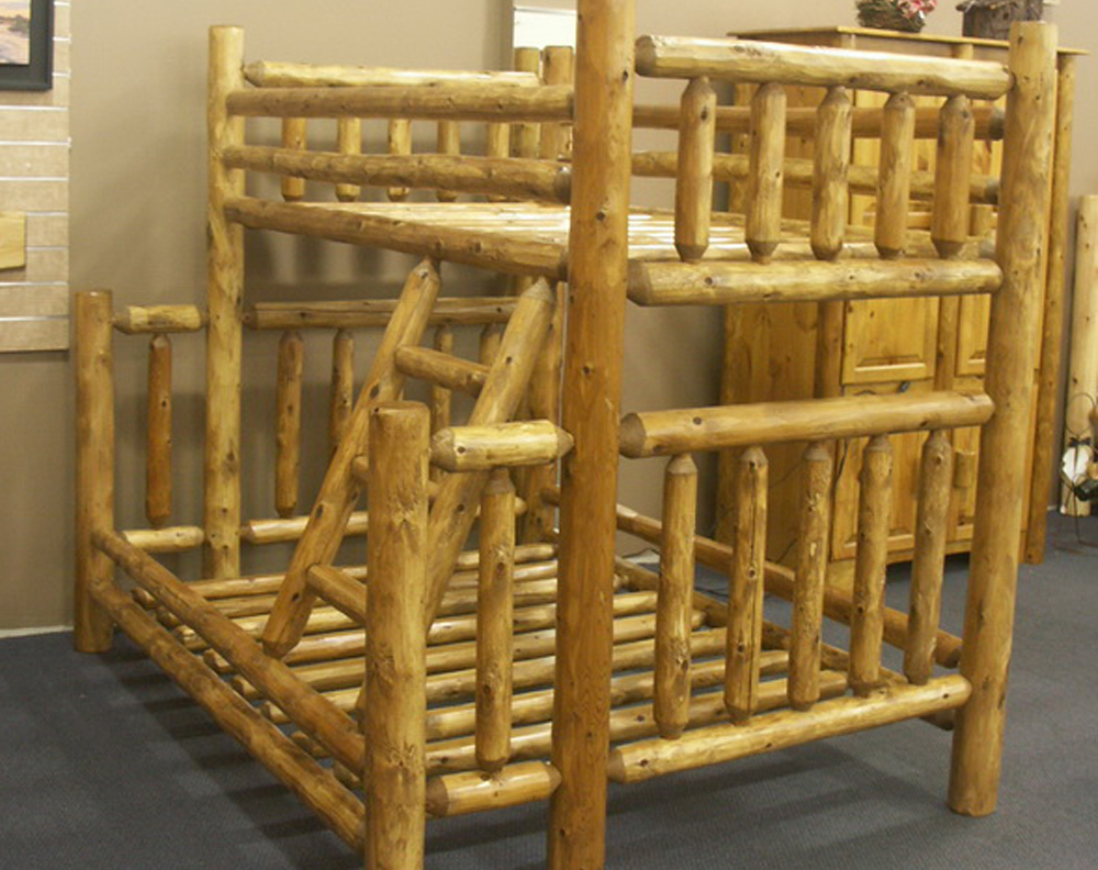 Twin over Full Cedar Log Bunk Bed