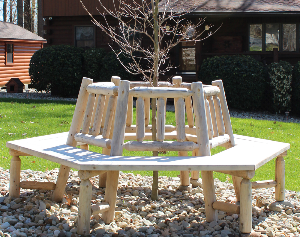 Round Cedar Log Bench